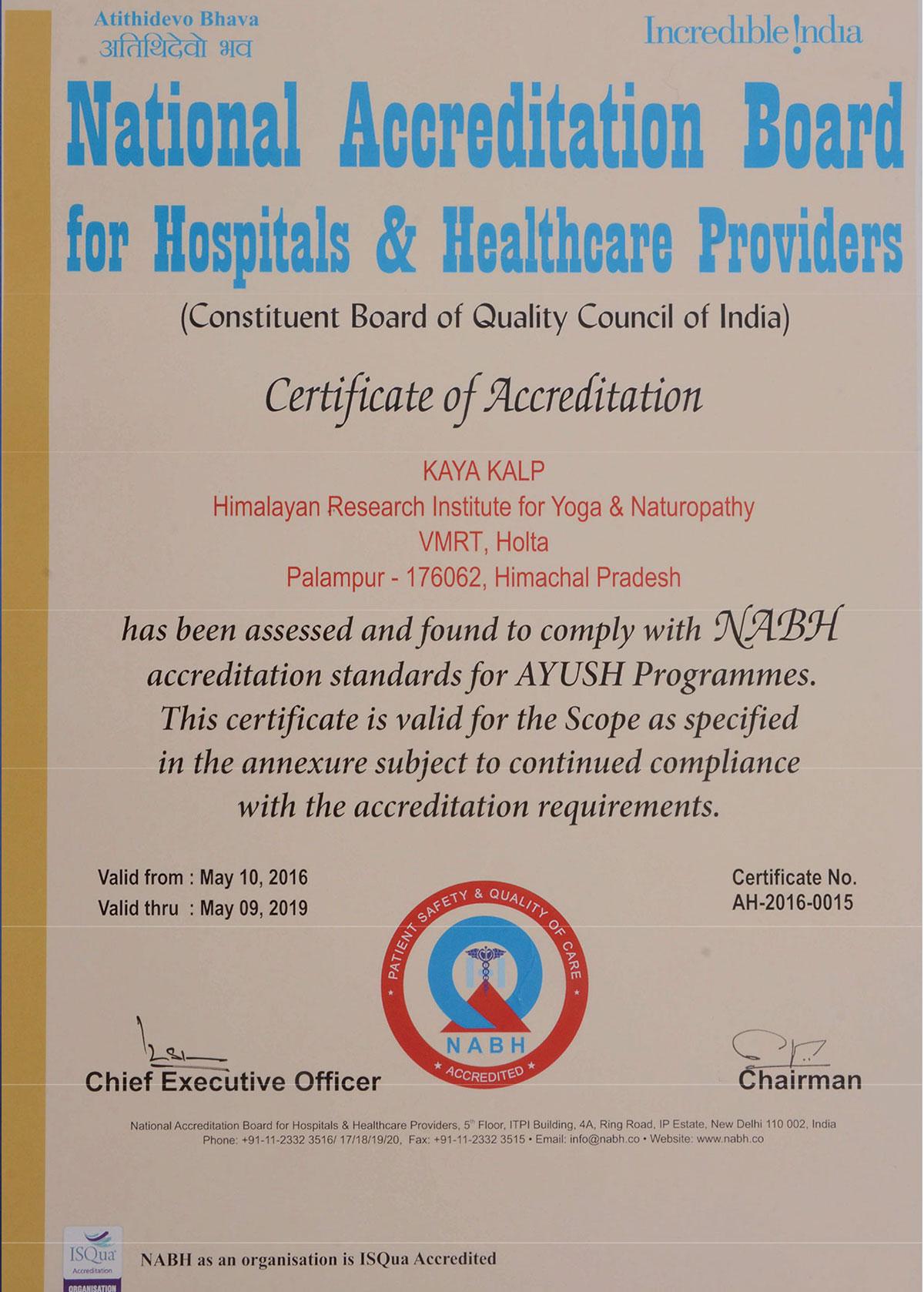 India's 1st NABH Accredited Yoga-Naturopathy Hospital and Himachal Pradesh's 1st and only AYUSH Accredited Hospital by NABH